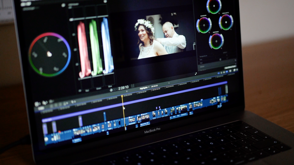 shot of editing a wedding on laptop
